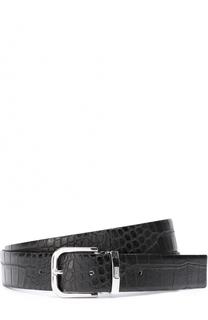 Кожаный ремень с тиснением под крокодила и металлической пряжкой Armani Collezioni
