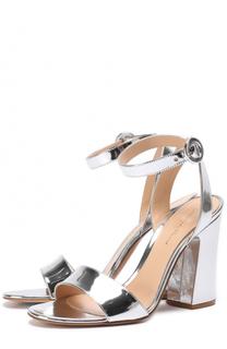Босоножки из металлизировнной кожи на устойчивом каблуке Gianvito Rossi