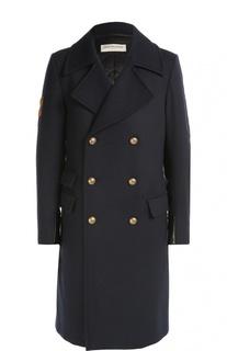 Шерстяное двубортное пальто с нашивками Dries Van Noten