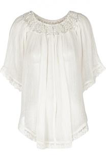 Асимметричная блуза свободного кроя с кружевной вставкой Denim&Supply by Ralph Lauren