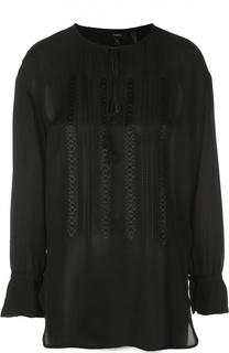 Удлиненная шелковая блуза с вышивкой и круглым вырезом Theory