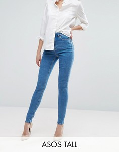 Синие джинсы скинни с выбеленным эффектом ASOS TALL RIDLEY - Синий
