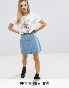 Noisy May Petite Mini Denim A Line Skirt With Frayed Detail - Синий