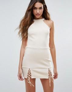 Платье мини со шнуровкой Unique 21 - Бежевый