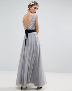 Сетчатое платье макси с темно-синей лентой ASOS WEDDING - Синий