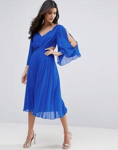 Плиссированное платье миди с вырезами по бокам ASOS - Синий