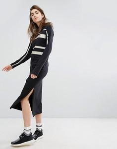 Платье миди с полосками adidas Paris - Черный