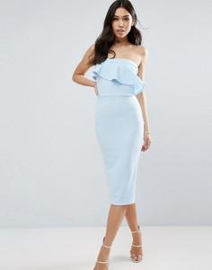 Фактурное платье-бандо миди с асимметричной оборкой ASOS - Синий