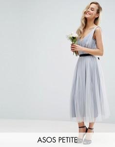 Сетчатое платье миди с ленточным поясом ASOS PETITE WEDDING - Синий