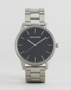 Серебристые наручные часы с черным циферблатом UNKNOWN - Серебряный