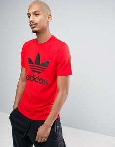 Красная футболка с логотипом-трилистником adidas Originals BK7167 - Красный
