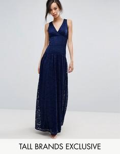 Пышное кружевное платье макси для выпускного Little Mistress Tall - Темно-синий