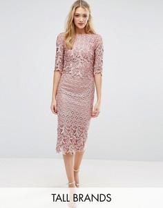 Платье-футляр миди из премиум-кружева кроше Little Mistress Tall - Розовый