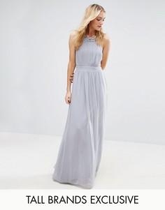 Плиссированное платье макси с отделкой на горловине Little Mistress Tall - Серый