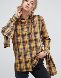 Хлопковая рубашка горчичного цвета с завязками на рукавах ASOS - Мульти