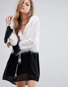 Платье-туника с эффектом омбре, рюшами и шнуровкой спереди Religion - Серый
