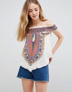 Топ с открытыми плечами и вышивкой Band Of Gypsies - Мульти