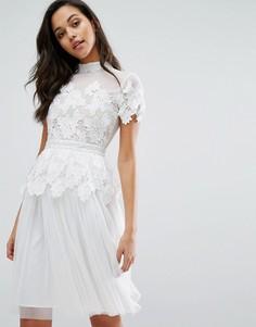 Платье с кружевной и тюлевой отделкой Miss Selfridge - Белый