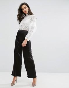 Атласные брюки с широкими штанинами Miss Selfridge - Черный