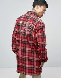 Длинная фланелевая куртка с принтом на спине 10 Deep - Красный