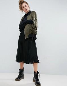 Плиссированная юбка миди с эластичным поясом ASOS - Черный