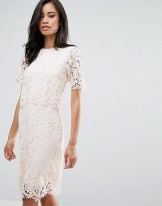 Платье миди с накладкой из фигурного кружева Club L - Розовый