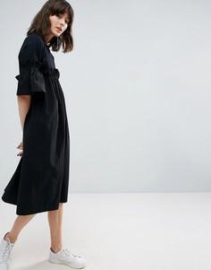 Контрастное платье с оборкой ASOS WHITE - Черный