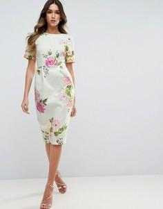 Облегающее платье с цветочным принтом ASOS - Мульти