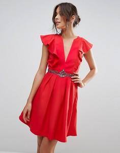 Платье мини с оборками и глубоким вырезом Little Mistress - Красный