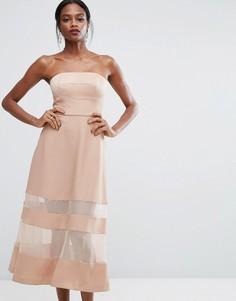Платье макси с бандо и прозрачными вставками AQ/AQ - Розовый