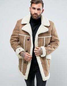 Пальто из искусственной цигейки цвета кэмел ASOS - Бежевый