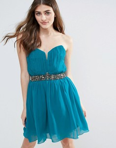 Платье мини с камнями на талии Little Mistress - Зеленый