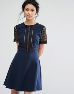 Короткое приталенное платье с кружевными вставками Elise Ryan - Темно-синий