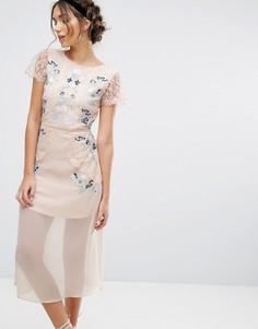 Платье миди со вставками и вышивкой Frock & Frill - Розовый