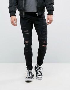 Черные рваные супероблегающие джинсы New Look - Черный