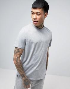 Серая меланжевая футболка с карманом и разрезами по бокам ASOS - Серый