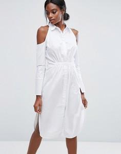 Хлопковое платье-рубашка с вырезами на плечах Lavish Alice - Белый