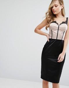 Платье-футляр с лифом в стиле корсета и кружевом с мелкой бахромой Elise Ryan - Мульти