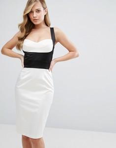 Атласное платье-футляр с лифом в стиле корсета Elise Ryan - Мульти