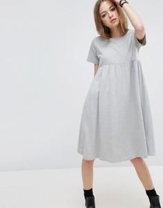 Платье миди с присборенной юбкой ASOS Ultimate - Серый