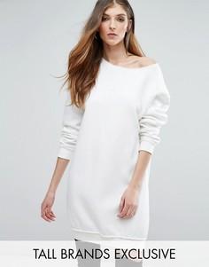 Свободное платье-джемпер с необработанными краями Missguided Tall - Кремовый