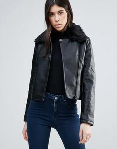 Байкерская куртка из полиуретана Brave Soul - Черный