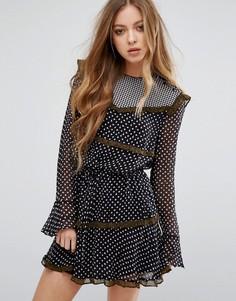Вискозное платье с принтом и рюшами Maison Scotch - Мульти