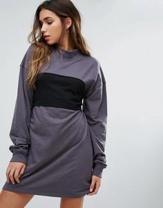 Трикотажное платье со вставкой-корсетом Missguided - Серый