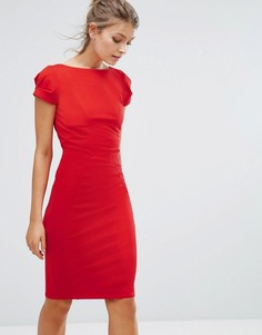 Платье-футляр с присборенными короткими рукавами Closet - Красный