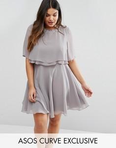 Короткое приталенное платье с кроп-топом и двойными рюшами ASOS CURVE - Серый