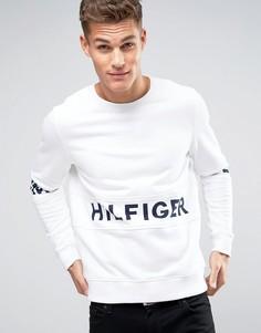 Белый свитшот с крупным логотипом Hilfiger Denim - Белый