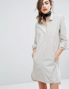Oversize платье-рубашка в мелкую полоску People Tree - Серый
