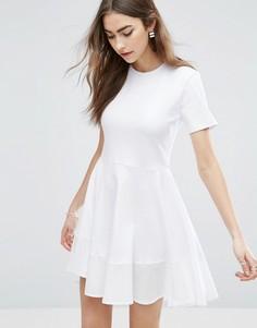 Короткое приталенное платье-футболка из хлопка ASOS - Белый