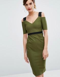 Платье миди с контрастными бретельками Vesper - Зеленый